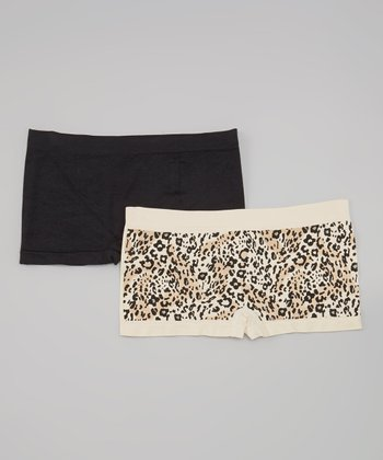 Beige & Black Leopard Seamless Boyshorts Set - Women