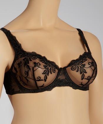 Black Lace Mesh Bra - Plus