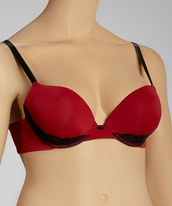 Garnet Lace-Trim Push-Up Bra - Plus