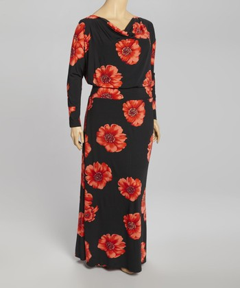 Black Floral Drape Neck Maxi Dress - Plus