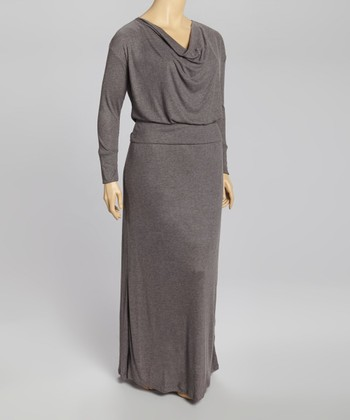 Gray Drape Neck Maxi Dress  Plus