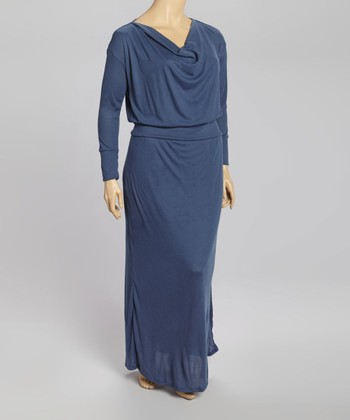 Navy Drape Neck Maxi Dress - Plus