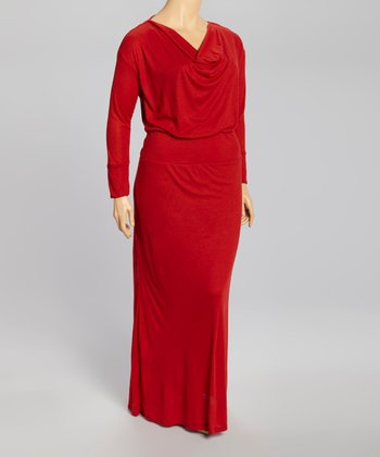 Red Drape Neck Maxi Dress - Plus
