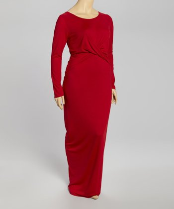 Red Twist Maxi Dress - Plus