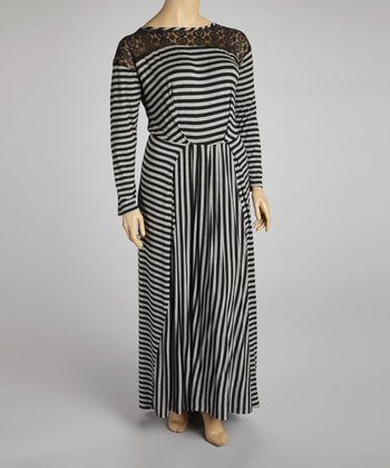 Black & Gray Stripe Lace-Shoulder Maxi Dress - Plus