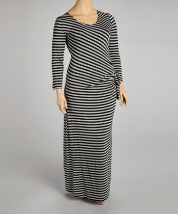 Black & Gray Stripe Side-Drape Maxi Dress - Plus
