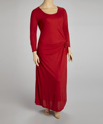 Red Side Drape Maxi Dress - Plus