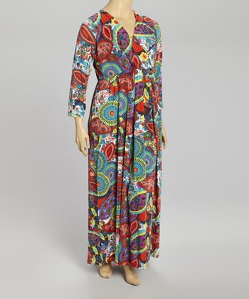 Red Paisley Surplice Maxi Dress - Plus