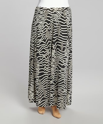 Black & White Wave Maxi Skirt - Plus
