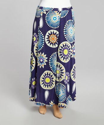 Navy Firework Maxi Skirt - Plus