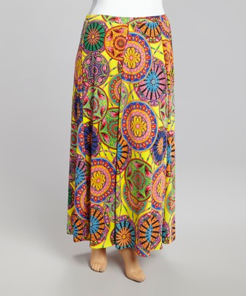 Orange Floral Dial Maxi Skirt - Plus