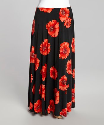Black Floral Maxi Skirt - Plus