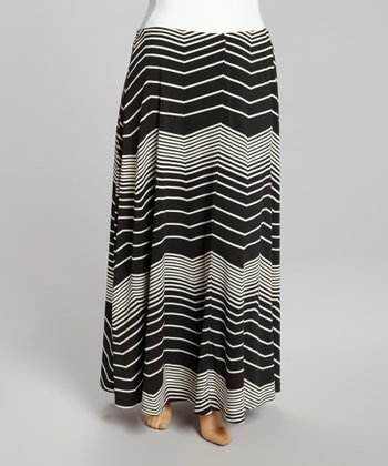 Gray Horizon Zigzag Maxi Skirt - Plus
