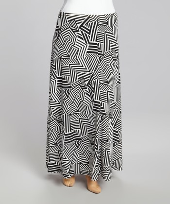 Black & White Geometric Stripe Maxi Skirt - Plus