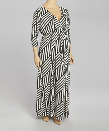 Black & White Weave Surplice Maxi Dress - Plus