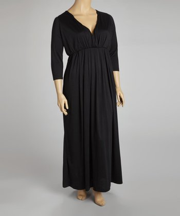 Black Empire-Waist Maxi Dress - Plus