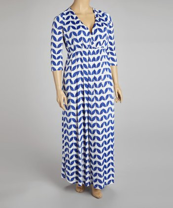 Blue & White Abstract Leaf Surplice Maxi Dress  Plus