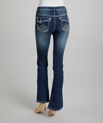 Dark Wash Embellished Bootcut Jeans