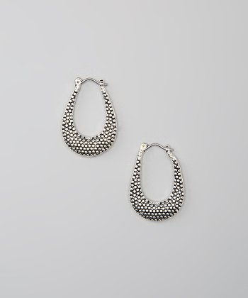 Antiqued Silver Pebbled Oval Hoop Earrings