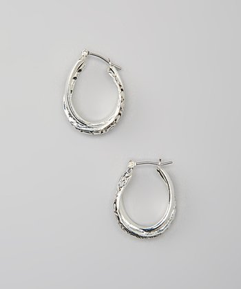 Antiqued Silver Scroll Twisted Hoop Earrings