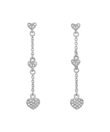 Silver Heart Chain Earrings Made With SWAROVSKI ELEMENTS