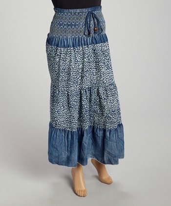 Blue Shirred Denim Skirt - Plus