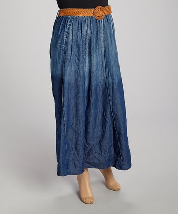 Blue Ombré Belted Denim Skirt - Plus