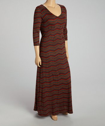Wine Zigzag Maxi Dress - Plus