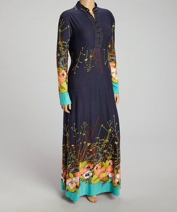 Navy Floral Maxi Dress - Plus