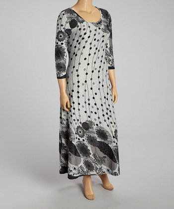 Gray Floral Maxi Dress - Plus