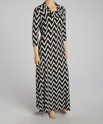 Black Zigzag Cowl Neck Maxi Dress - Plus