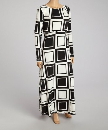 Black Geometric Maxi Dress - Plus