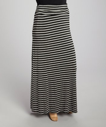 Gray Stripe Maxi Skirt - Plus