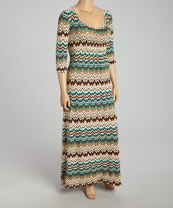 Green Zigzag Maxi Dress - Plus