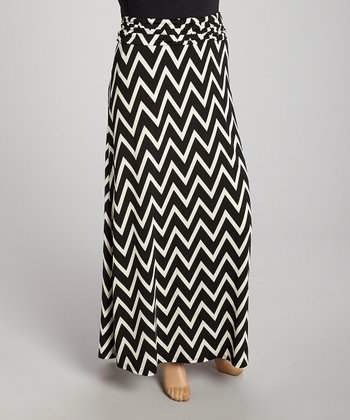 Black Zigzag Fold-Over Maxi Skirt - Plus