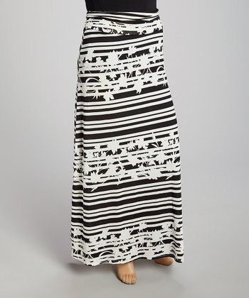 Black Floral Stripe Maxi Skirt - Plus