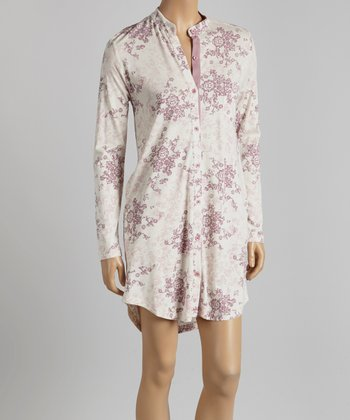 Pink Damask Mandarin Collar Sleepshirt - Women