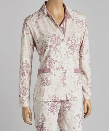 Pink Damask Pajama Top - Women