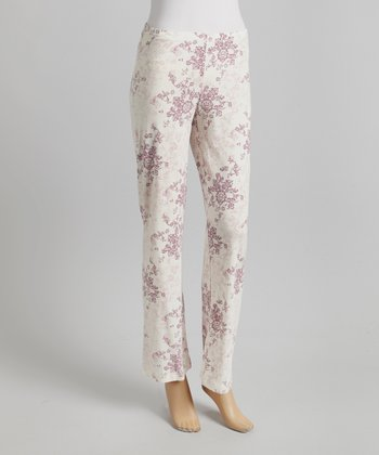 Pink Damask Pajama Pants - Women
