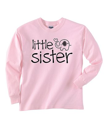 Pink 'Little Sister' Long-Sleeve Tee - Toddler & Girls