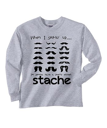 Gray 'Stache' Long-Sleeve Tee - Toddler & Boys