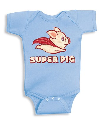Light Blue 'Super Pig' Bodysuit - Infant