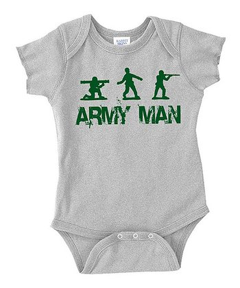 Gray 'Army Man' Bodysuit - Infant