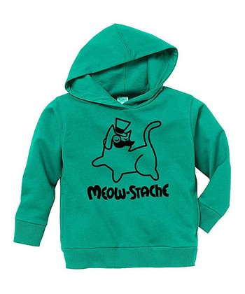 Kelly Green 'Meow-Stache' Hoodie - Toddler & Kids