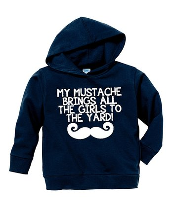 Navy 'My Mustache' Hoodie - Toddler & Boys