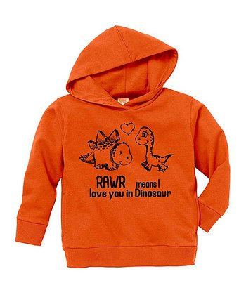 Orange 'I Love You in Dinosaur' Hoodie - Toddler & Kids
