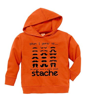 Orange 'Sweet Stache' Hoodie - Toddler & Boys