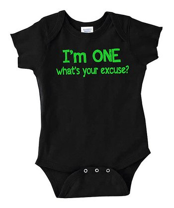 Black 'What's Your Excuse' Bodysuit - Infant