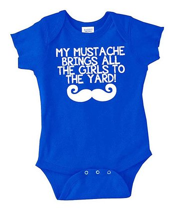 Royal Blue 'My Mustache' Bodysuit - Infant