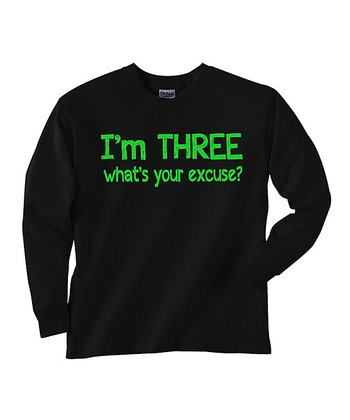 Black 'I'm Three' Tee - Toddler & Kids